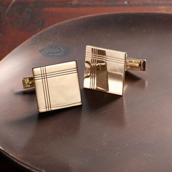 14kt Yellow Gold Three-Initial Cuff Links , , default