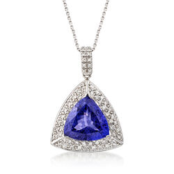 8.75 Carat Tanzanite Triangle and .85 ct. t.w. Diamond Pendant Necklace in 14kt White Gold, , default