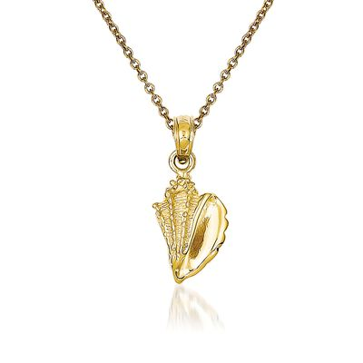 14kt Yellow Gold Conch Shell Pendant Necklace, , default