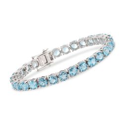 30.00 ct. t.w. Blue Topaz Tennis Bracelet in Sterling Silver, , default