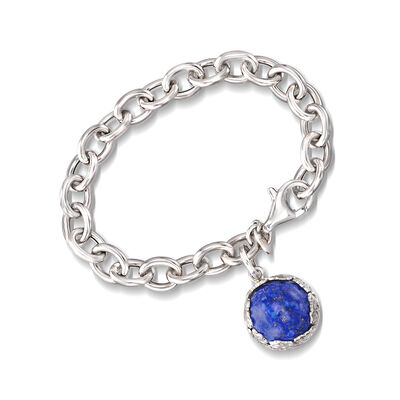 Italian Lapis Cable Chain Bracelet in Sterling Silver, , default