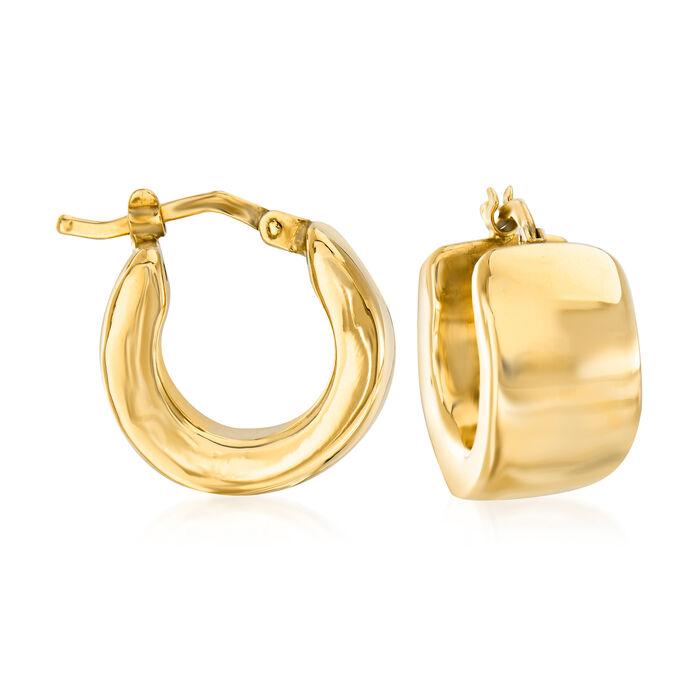 "Italian 18kt Yellow Gold Huggie Hoop Earrings. 5/8"""