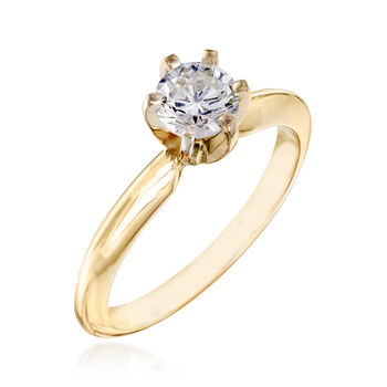 C. 1990 Vintage .60 Carat Diamond Ring in 14kt Yellow Gold. Size 6