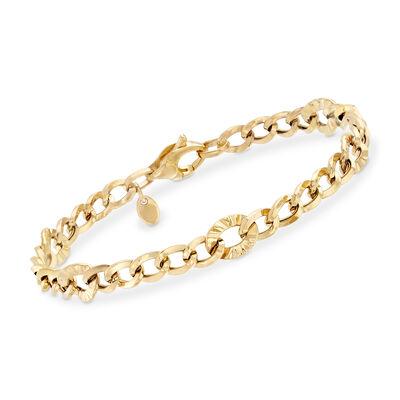 Italian 18kt Yellow Gold Multi-Sized Curb-Link Bracelet, , default