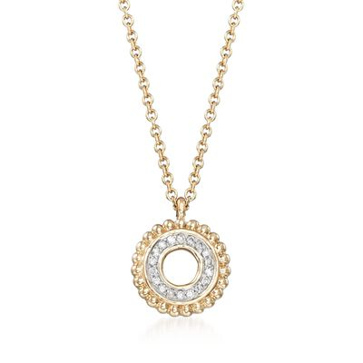 Diamond-Accented Open Circle Pendant Necklace in 14kt Yellow Gold, , default