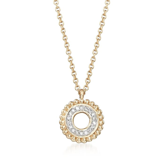 "Diamond-Accented Open Circle Pendant Necklace in 14kt Yellow Gold. 18"", , default"