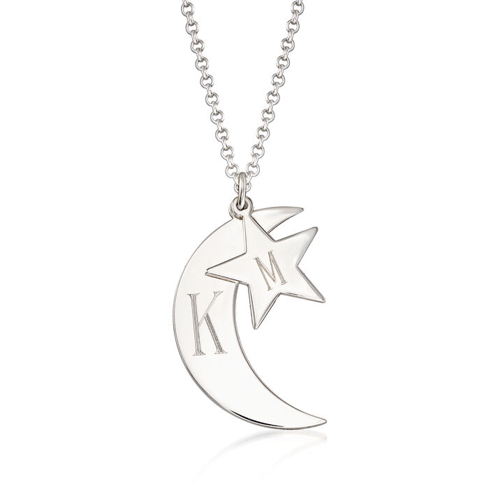 Personalized Crescent Moon and Star Double Pendant Necklace in Sterling Silver, , default