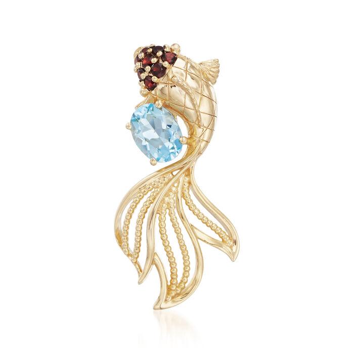 1.20 Carat Blue Topaz and .24 ct. t.w. Garnet Koi Fish Pendant in 18kt Gold Over Sterling, , default