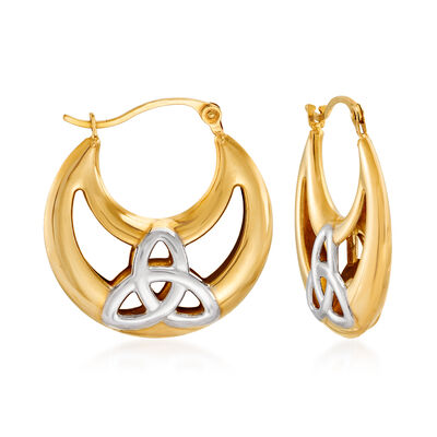 14kt Two-Tone Gold Trinity Knot Hoop Earrings