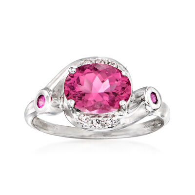 C. 1990 Vintage 2.15 Carat Pink Tourmaline Ring with Diamond and Pink Tourmaline Accents in 14kt White Gold
