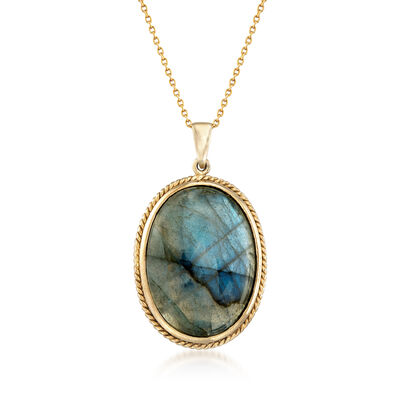 Oval Labradorite Pendant Necklace in 14kt Gold Over Sterling, , default