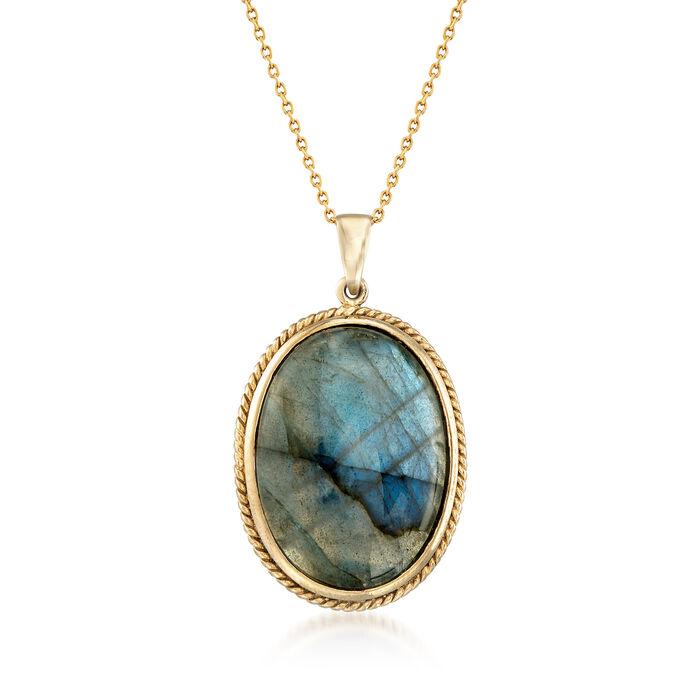 """Oval Labradorite Pendant Necklace in 14kt Gold Over Sterling. 18"""", , default"""