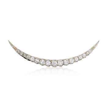 C. 1920 Vintage Tiffany Jewelry 1.25 ct. t.w. Diamond Crescent Moon Pin in Platinum and 18kt Gold, , default