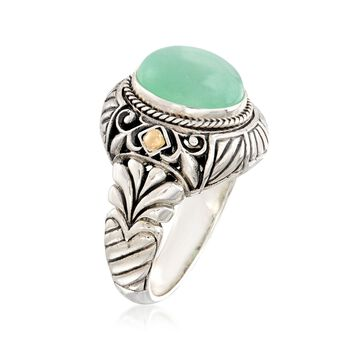 Oval Green Jade Bali-Style Ring With 18kt Yellow Gold in Sterling Silver, , default