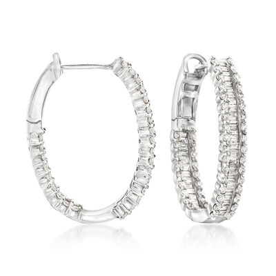 4.10 ct. t.w. Diamond Hoop Earrings in 14kt White Gold
