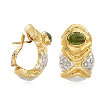 C. 1980 Vintage 3.20 ct. t.w. Green Tourmaline and .65 ct. t.w. Diamond Earrings in 18kt Yellow Gold, , default