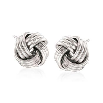 14kt White Gold Love Knot Stud Earrings, , default