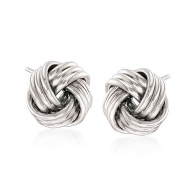 14kt White Gold Love Knot Stud Earrings, , default