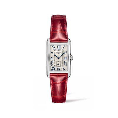 Longines Dolcevita Women's 23x37mm Stainless Steel Watch with Red Alligator