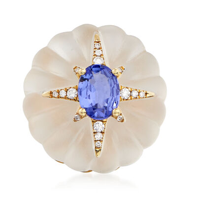 20.00 Carat Rock Crystal, 1.20 Carat Tanzanite and .10 ct. t.w. Diamond Flower Ring in 14kt Yellow Gold