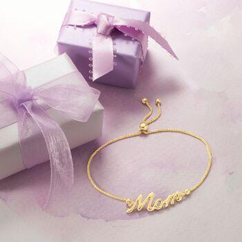 "14kt Yellow Gold ""Mom"" Bolo Bracelet, , default"