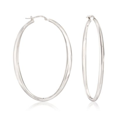 Italian Sterling Silver Oval Hoop Earrings, , default