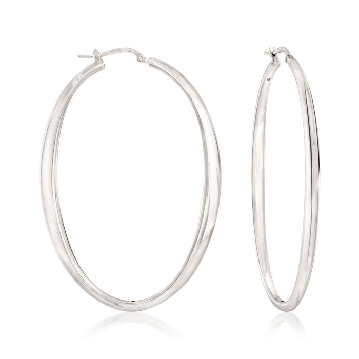 "Italian Sterling Silver Oval Hoop Earrings. 2 1/2"", , default"