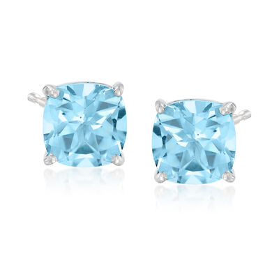 6.40 ct. t.w. Swiss Blue Topaz Stud Earrings in Sterling Silver, , default