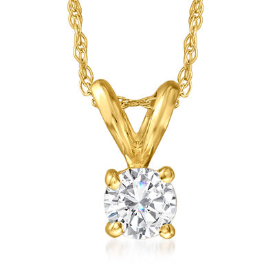 .25 Carat Diamond Solitaire Necklace in 14kt Yellow Gold