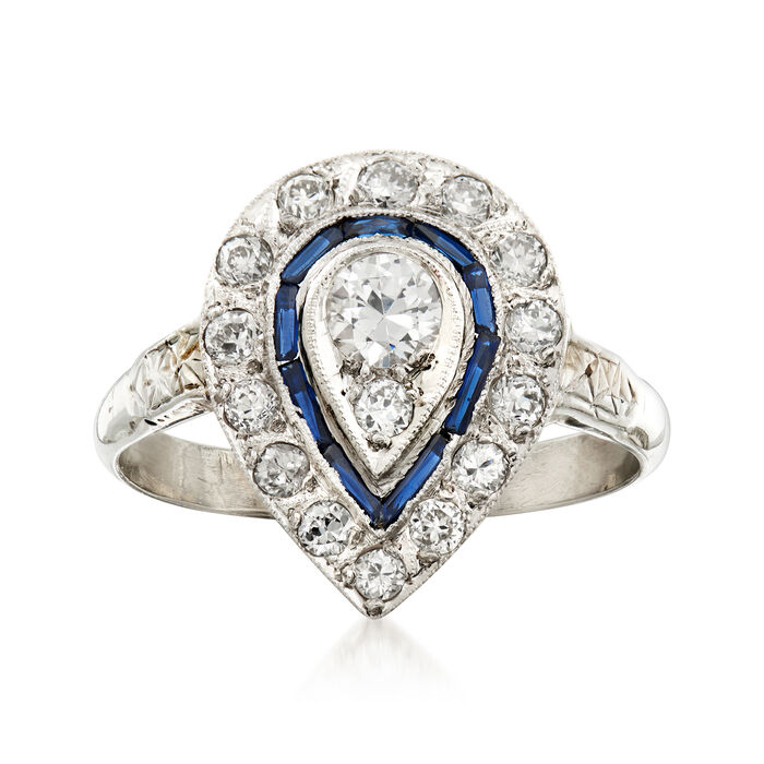 """C. 1970 Vintage .70 ct. t.w. Diamond and .12 ct. t.w. Simulated Sapphire Cocktail Ring in 18kt White Gold. 7"""", , default"""