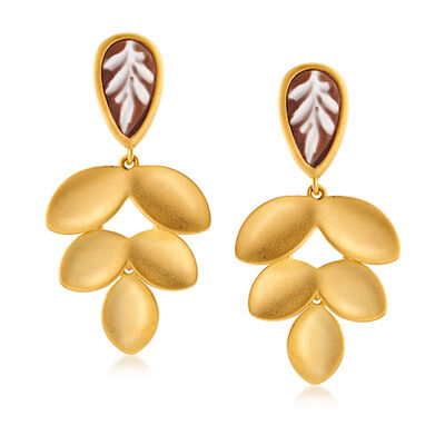 Italian Leaf Shell Cameo Earrings in 18kt Gold Over Sterling, , default