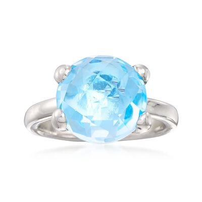 Italian 8.50 Carat Blue Topaz Ring in Sterling Silver, , default