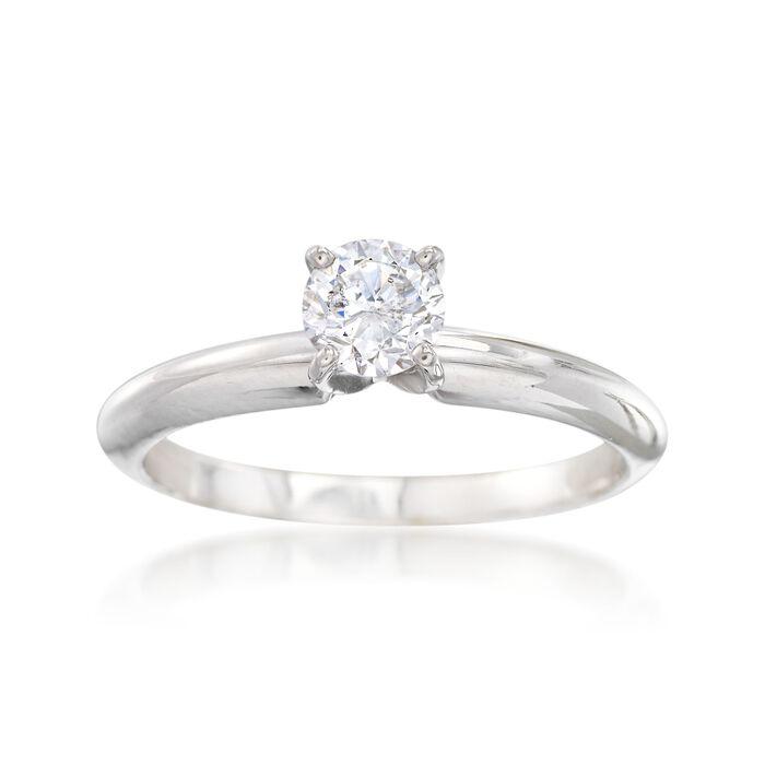 C. 2000 Vintage .44 Carat Diamond Solitaire Engagement Ring in 14kt White Gold. Size 6.5, , default