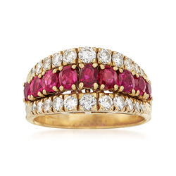 C. 1980 Vintage 1.71 ct. t.w. Ruby and 1.05 ct. t.w. Diamond Three-Row Ring in 18kt Yellow Gold, , default