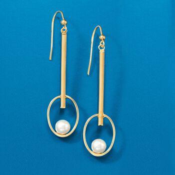 Italian 6-6.5mm Cultured Pearl Drop Earrings in 14kt Yellow Gold, , default