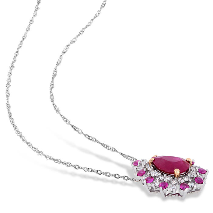 1.30 Carat Pink Ruby Teardrop Pendant Necklace with Pink Sapphire and Diamond Accents in 14kt Two-Tone Gold