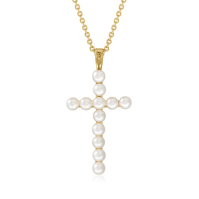 3.5-4mm Cultured Pearl Cross Pendant Necklace in 18kt Gold Over Sterling