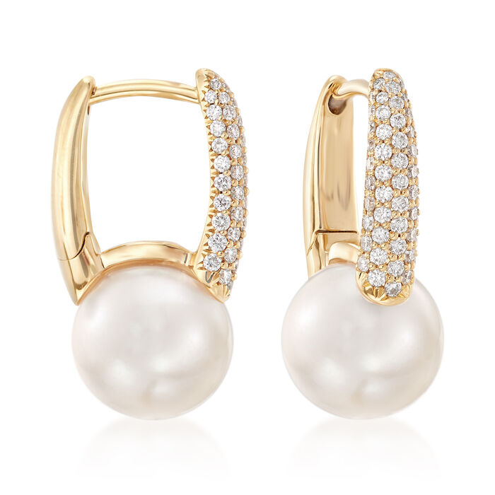 "Mikimoto's ""Classic"" 8mm Akoya Pearl and .26 ct. t.w. Diamond Hoop Earrings in 18kt Gold"