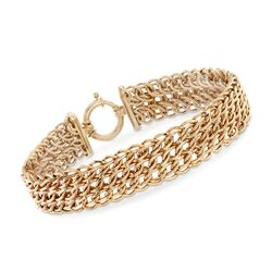 14kt Yellow Gold Triple Row Link Bracelet, , default