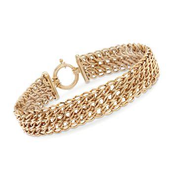 14kt Yellow Gold Triple Row Link Bracelet, , default