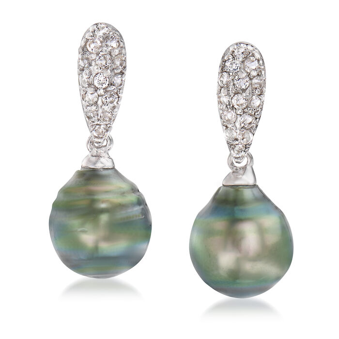 Cultured Tahitian Pearl and .20 ct. t.w. White Topaz Drop Earrings in Sterling Silver, , default