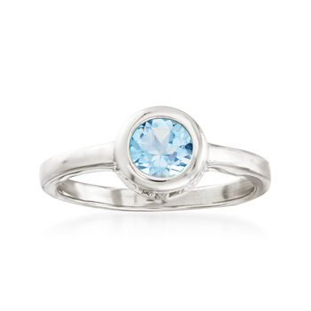 1.00 Carat Bezel-Set Blue Topaz Ring in Sterling Silver, , default
