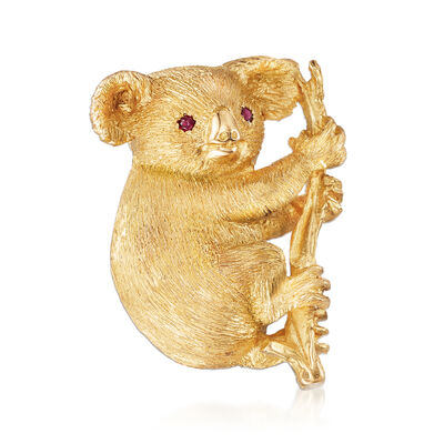 C. 1980 Vintage 18kt Yellow Gold Koala Bear Pin with Ruby Accents, , default