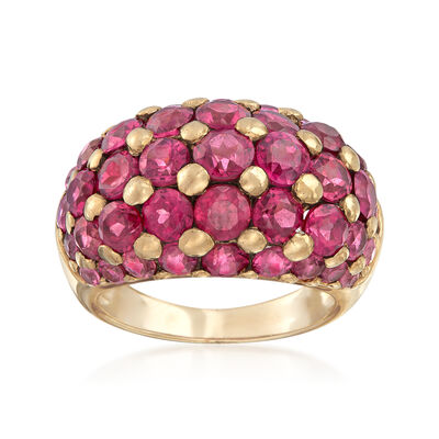C. 1980 Vintage 5.00 ct. t.w. Rhodolite Garnet Ring in 10kt Yellow Gold, , default