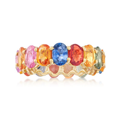8.25 ct. t.w. Multicolored Sapphire Eternity Band in 18kt Yellow Gold, , default
