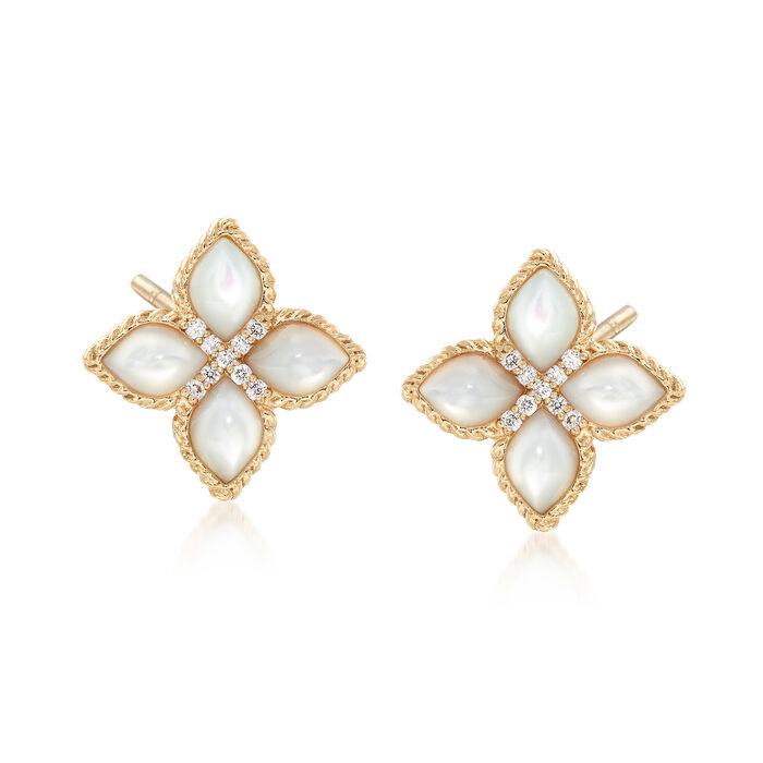"""Roberto Coin """"Venetian Princess"""" Mother-Of-Pearl Earrings with Diamond Accents in 18kt Gold"""
