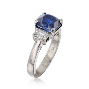 C. 1990 Vintage 3.44 Carat Sapphire and .50 ct. t.w. Diamond Ring in Platinum. Size 5.75, , default