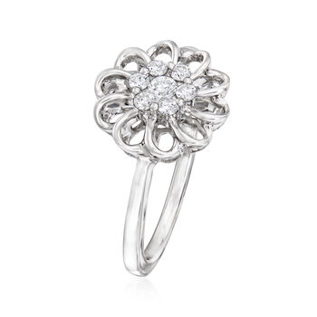 C. 1990 Vintage Giantti .22 ct. t.w. Diamond Flower Ring in 18kt White Gold. Size 7