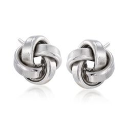 Italian Sterling Silver Love Knot Stud Earrings, , default