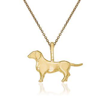 "14kt Yellow Gold Dog Pendant Necklace. 18"", , default"